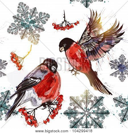 Seamless Vector Pattern In Watercolor Style With Bullfinches Rowan And Snowflakes On A Chr