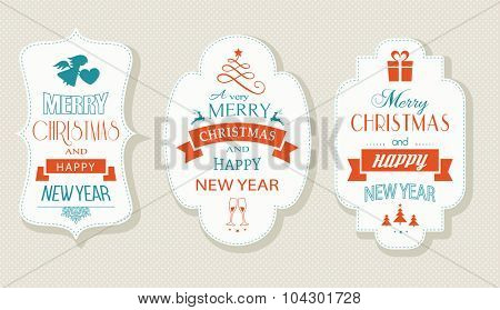 Set of Christmas and New Years labels with various Christmas symbols and the wording, Merry Christmas and Happy New Year. Designs for the festive season to come.