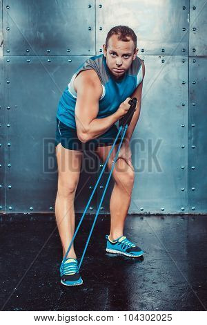 Sportsmen. Fit Male Trainer Man Doing Exercises With Expanders, Concept Fitness Workout Str