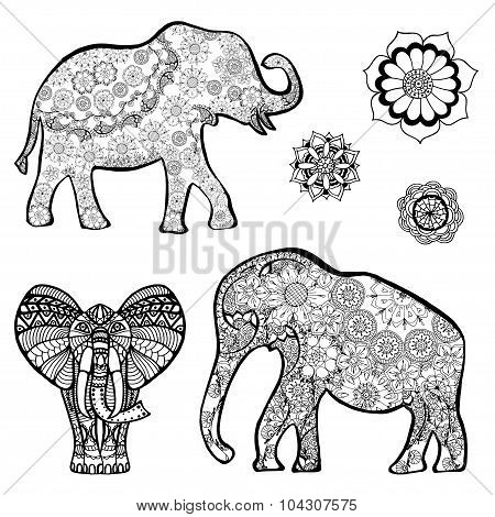 Vector Drawing Of A Elephant With Ethnic Patterns Of India. On The Grange Background. Image As A Tat