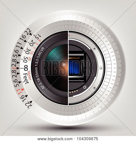 Camera Sensor And Lens With Scale Vector Background