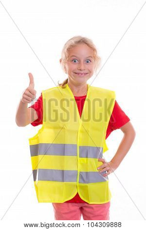 Blond Girl With Reflective Vest