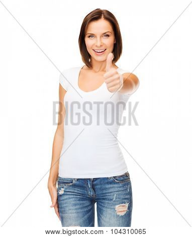 happy people concept - woman in blank white t-shirt showing thumbs up
