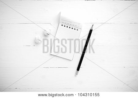 Notepad With Crumpled Paper And Pencil Black And White Tone Color Style