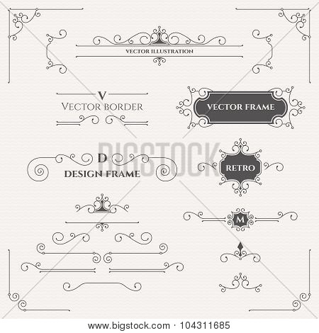 Set Of Decorative Elements. Design collection for labels, invitations, banners, badges ,signage, sti