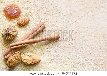 Christmas abstract food background with brown sugar and dainty