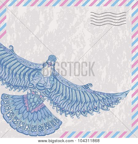 Decorative Flying Dove On The Card Stylized Airmail
