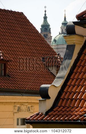 Spires Between Red Tiles In Mala Strana