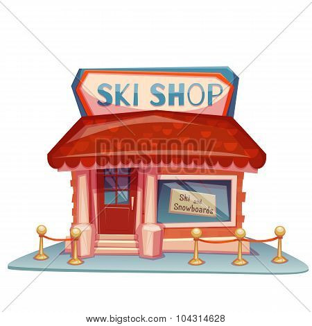 Ski shop building with bright banner. Vector illustration