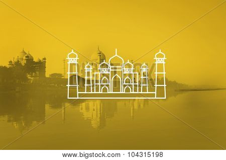 Taj Mahal India Seven Wonders Travel Tourism Vacation Concept