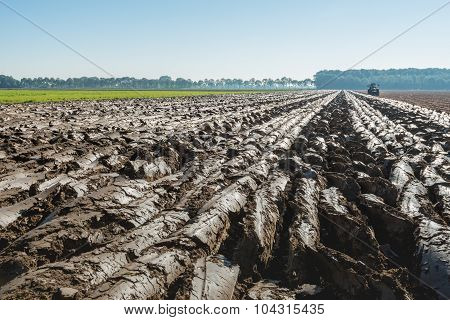 Converging Furrows In Partially Plowed Clay Soil