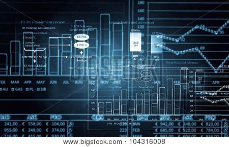 Background image with multi media graphs and diagrams