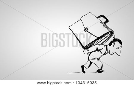 Caricature of businessman carrying suitcase on his back