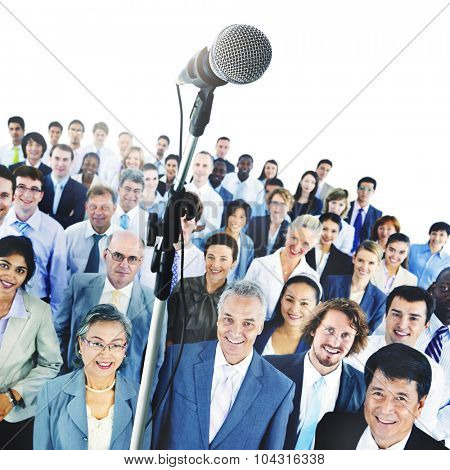 Microphone Conference Meeting Seminar Business People Concept