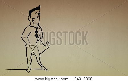 Caricature of funny super hero with dollar sign on chest
