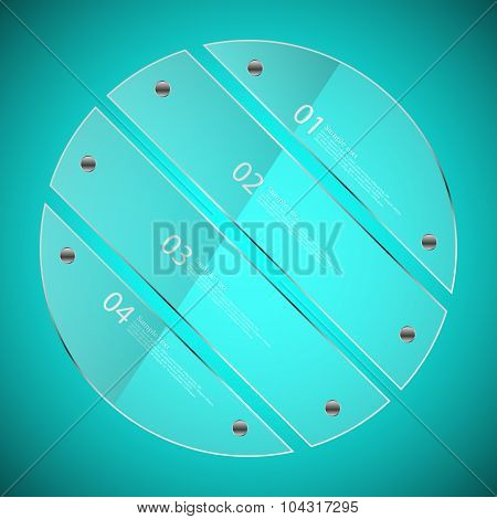 Glass Circle Divided To Four Separate Parts On Blue