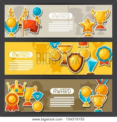 Sport or business award sticker icons banners