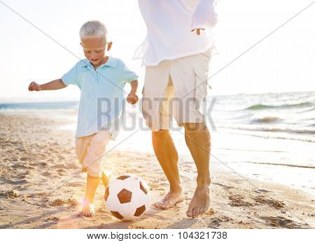 Family Playing Beach Summer Vacation Leisure Playful Concept