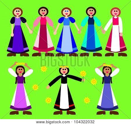 Stylized girls figurines in rural dress