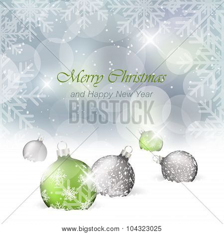 Christmas card with light effect and baubles in the snow. Vector greeting card.