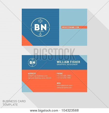 Vector Design Modern Creative And Clean Business Card Template. Flat Design Vector Illustration