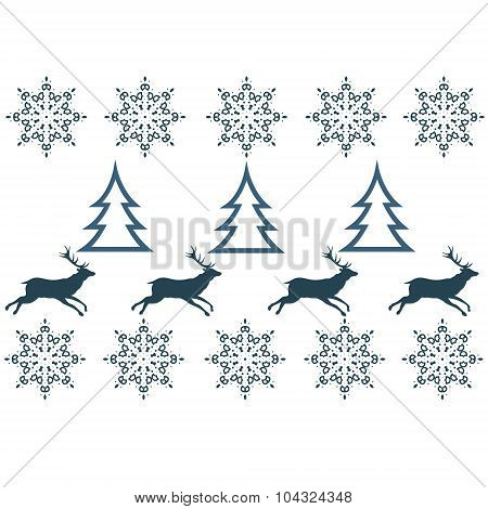 Seamless pattern with winter sweater design - deer, snowflake and christmas tree