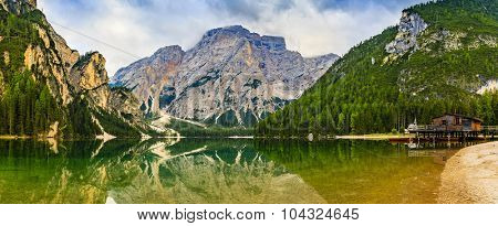 Braies Lake in Dolomites mountains, Seekofel in background, Sudtirol, Italy