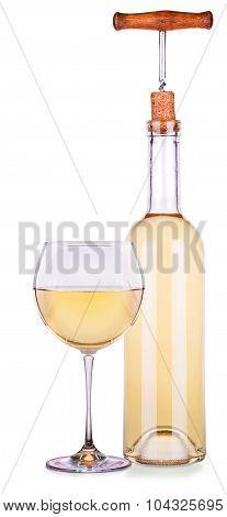 Elegant white wine glass and bottle isolated