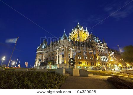 Chateau Frontenac In Quebec City At Night, Canada, Editorial