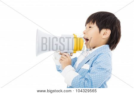 Little Boy Shouting In Megaphone Isolated
