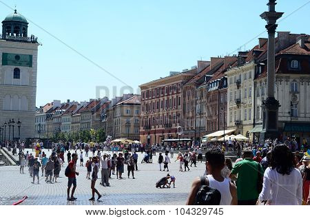 tourists in the Old Town in Warsaw, Poland.