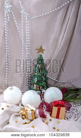 Card New Year Paper Fir And Gifts