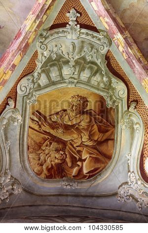 LEPOGLAVA, CROATIA - SEPTEMBER 21: Saint Mark the Evangelist, fresco in parish Church of the Immaculate Conception of the Virgin Mary in Lepoglava on September 21, 2014