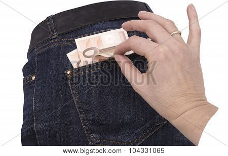 Jeans Money In Your Pocket And Hand
