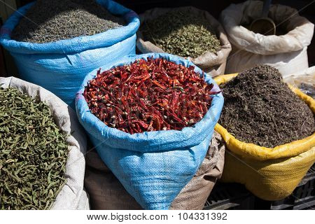 Colorful Spices At A Market Stall In Morocco