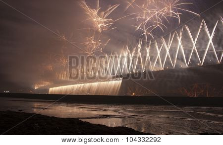 Fireworks On Forth Road Bridge For 50Th Celebration, Scotland