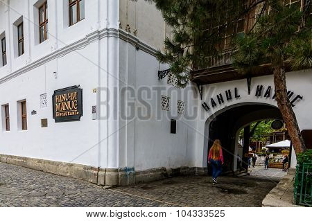 Bucharest, Romania - September 27, 2015: Manuc's Inn (hanul Lui Manuc) Built In 1808 Is The Oldest H
