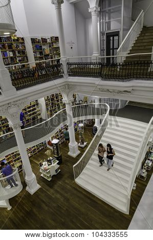 Bucharest, Romania - September 27, 2015: People Shopping For Literature Books In Carturesti Library,