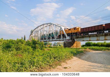 Freight Train On The Bridge