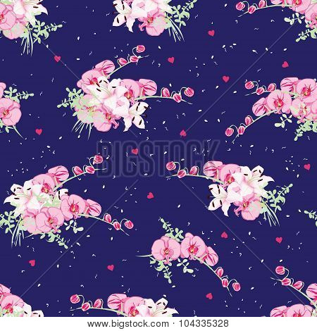 Navy Dotted Pattern With Orchid And Lily Bouquets