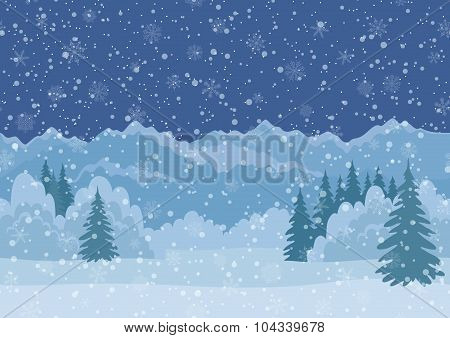 Christmas Landscape, Mountains, Seamless
