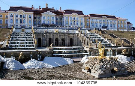 Fountains in Petrodvorets Peterhof, Saint Petersburg, Russia.