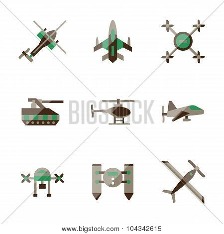 Unmanned robots flat color vector icons