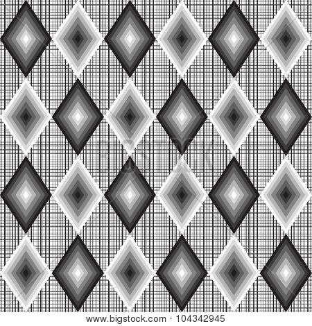 Sample Motley Abstract Seamless Pattern With Black And White Rhombusus.eps