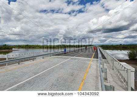 Road Bridge Over Kamchatka River. Russia, Far East