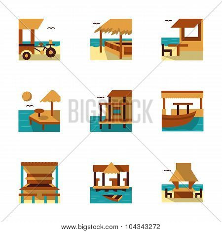 Tropical resort flat color vector icons
