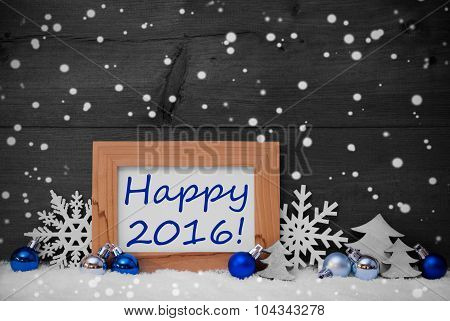 Blue Gray Christmas Decoration, Snow, Happy 2016, Snowflakes