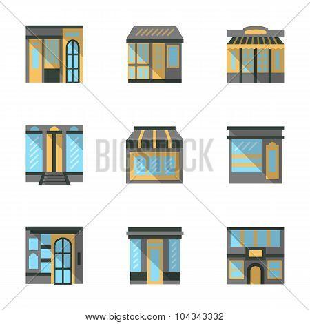 Store facades flat vector icons