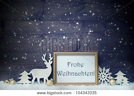 Vintage Card, Snowflakes, Frohe Weihnachten Mean Merry Christmas