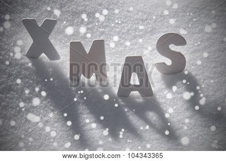 White Christmas Text Xmas On Snow, Snowflakes